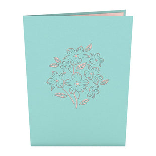 Floral Bouquet Blue Pop Up Card