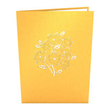 Floral Bouquet Gold birthday pop up card - thumbnail