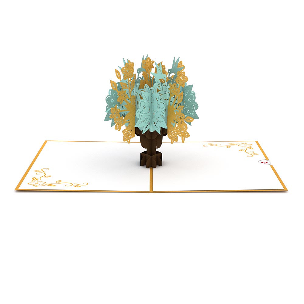 Floral Bouquet Gold birthday pop up card