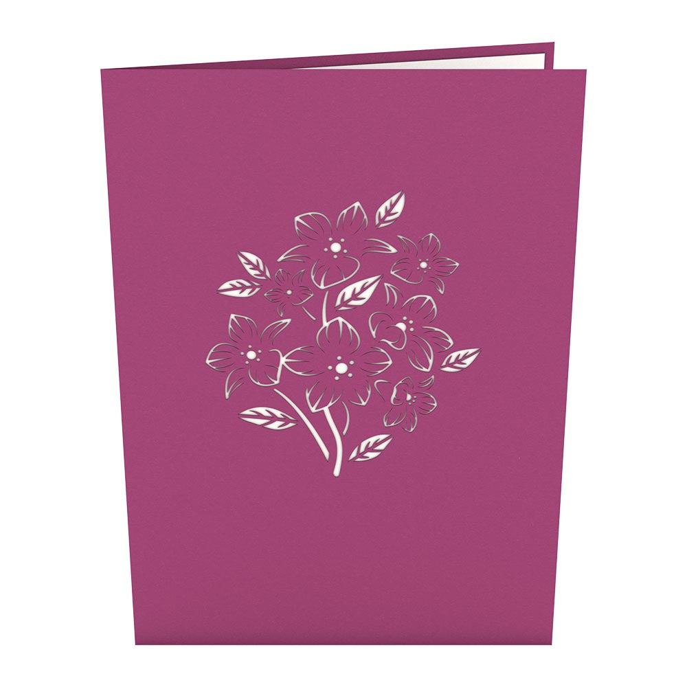 Floral Bouquet Purple birthday pop up card
