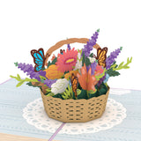 Flower Basket birthday pop up card - thumbnail