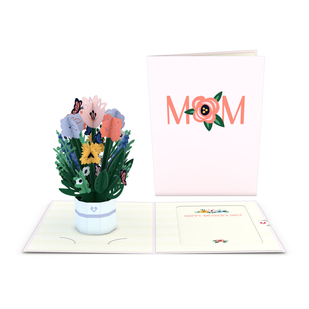 Mother's Day Flower Basket Card with Mini Bouquet