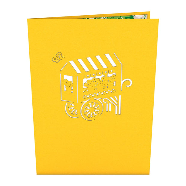 French Flower Cart Pop Up Valentine's Day Card