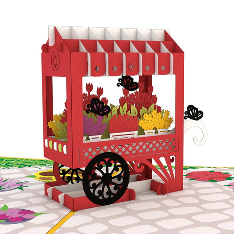 French Flower Cart Pop Up Valentine's Day Card greeting card -  Lovepop