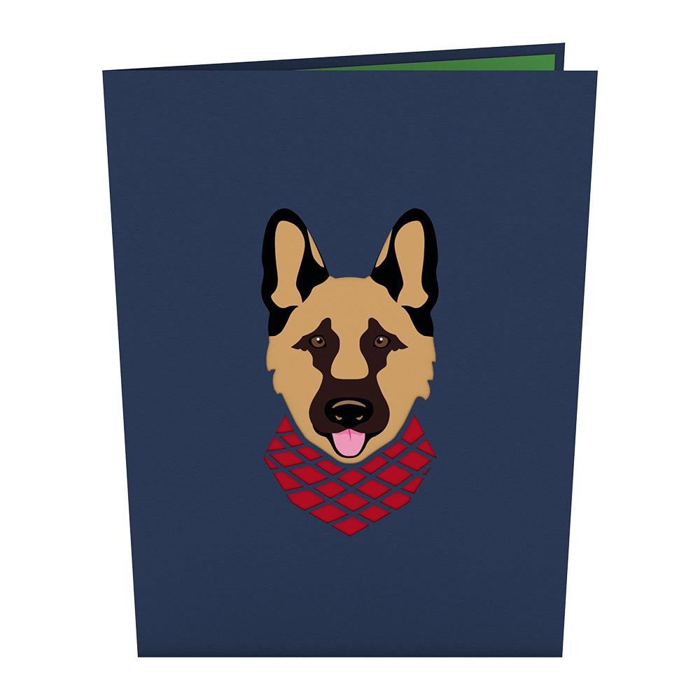 German Shepherd birthday pop up card