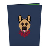 German Shepherd birthday pop up card - thumbnail