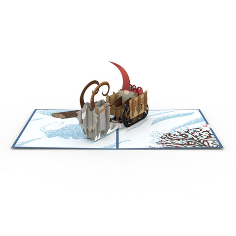 Nordic Gnome Sleigh greeting card -  Lovepop