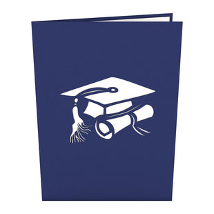 Graduation Hats Blue Pop Up Graduation Card