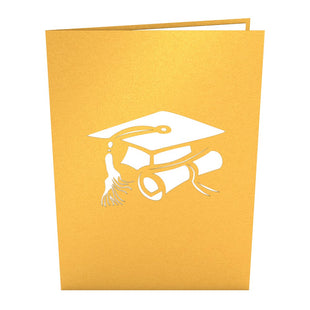 Graduation Hats Gold Pop Up Graduation Card