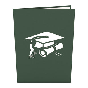 Graduation Hats Green Pop Up Graduation Card