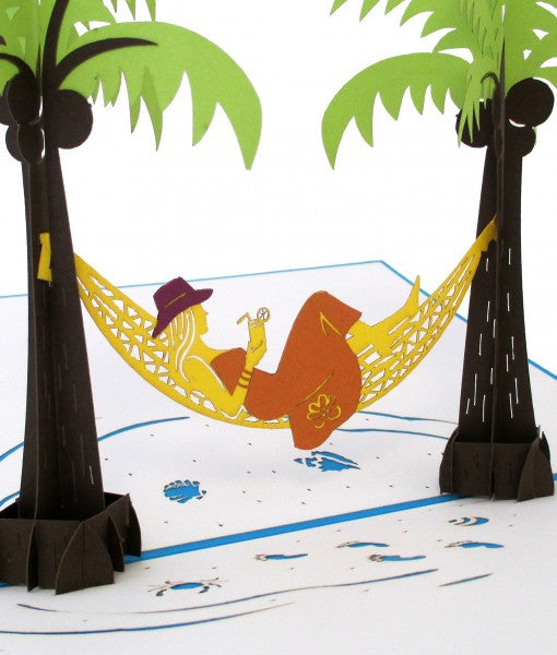 Hammock & Palm Girl pop up card