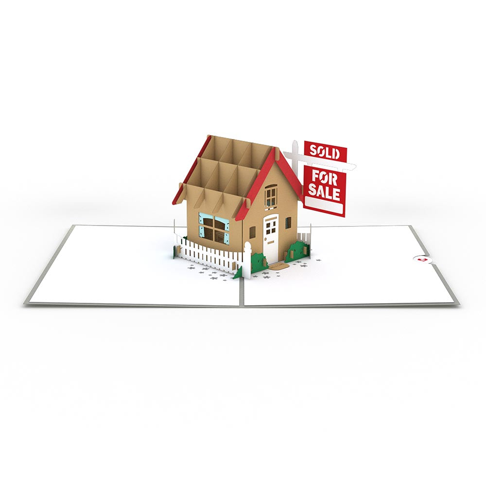Brown House for Sale Pop-Up Card