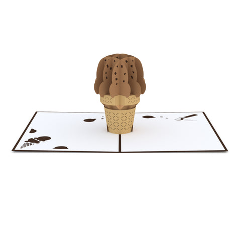 Chocolate Ice Cream Cone Pop up Card greeting card -  Lovepop