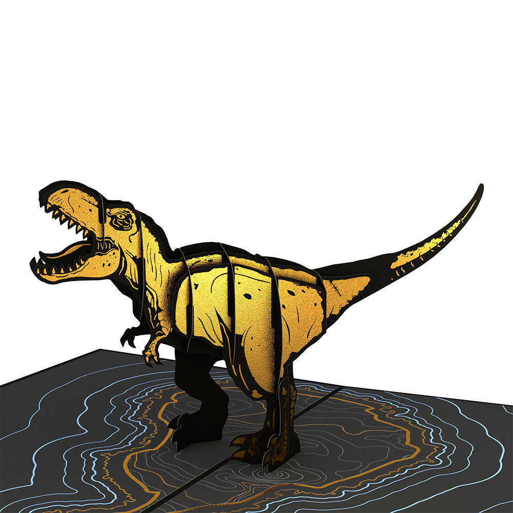 Jurassic World T-Rex Gold birthday pop up card