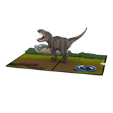Jurassic World T.rex birthday pop up card - thumbnail