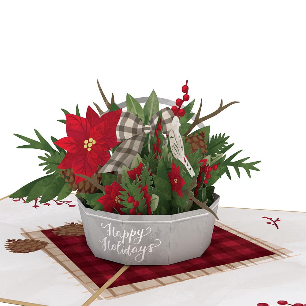 Winter Flower Basket             pop up card
