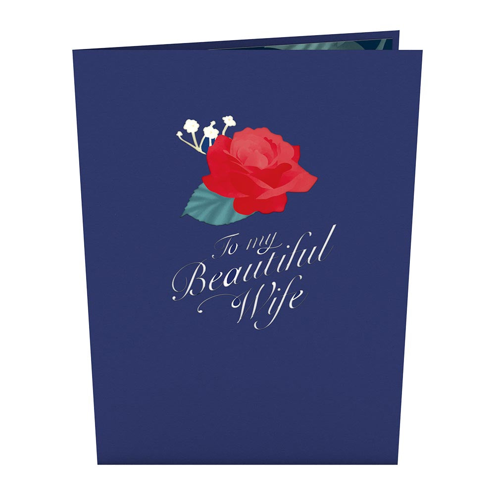 Wife's Rose Bloom Pop Up Card