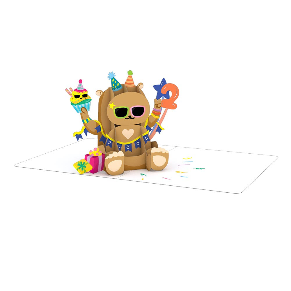 Playpop Card™: 2nd Birthday Bear             pop up card