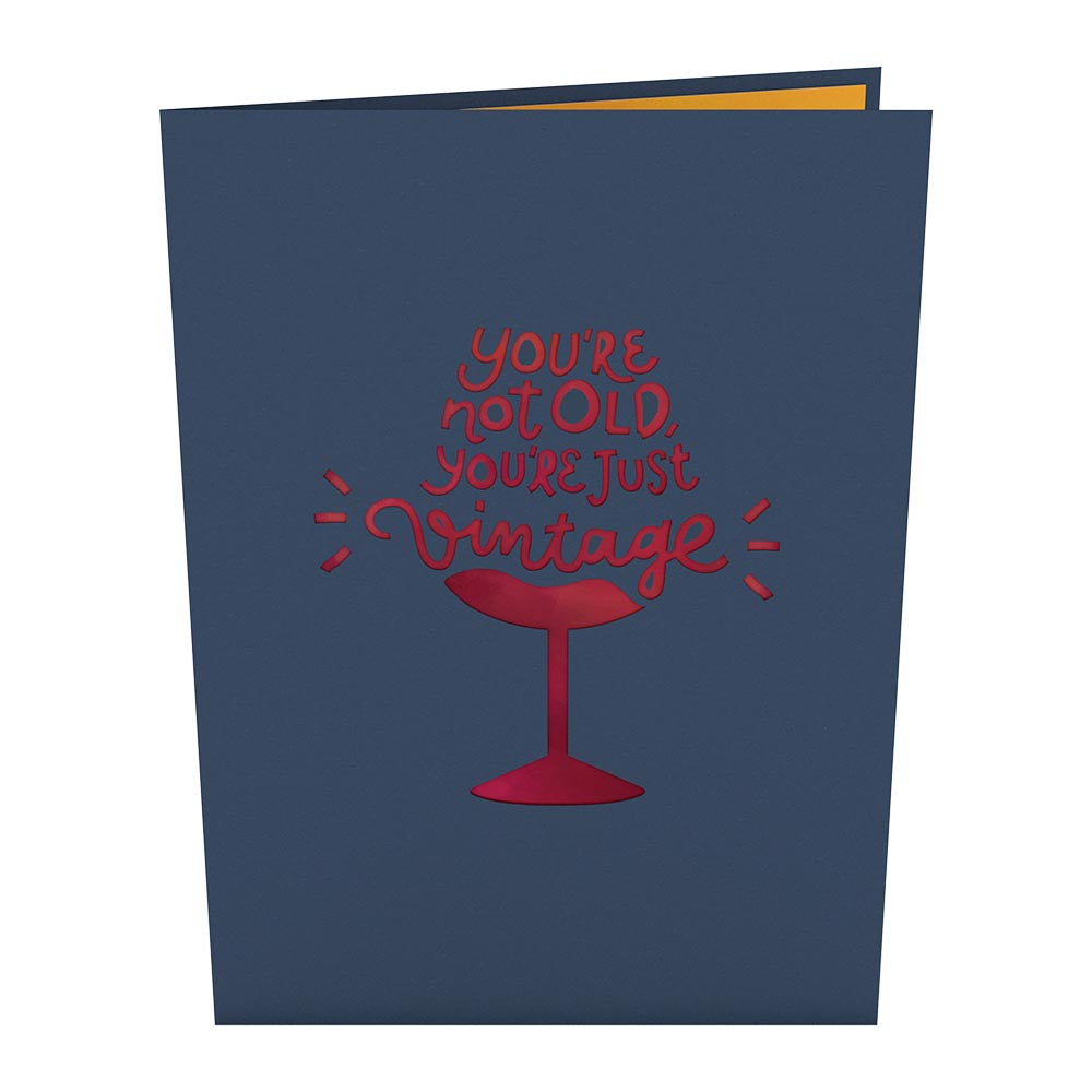 Vintage Wine Birthday                                         pop up card