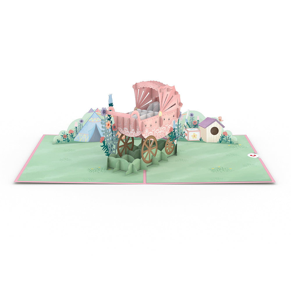Pink Baby Carriage Pop-Up Card