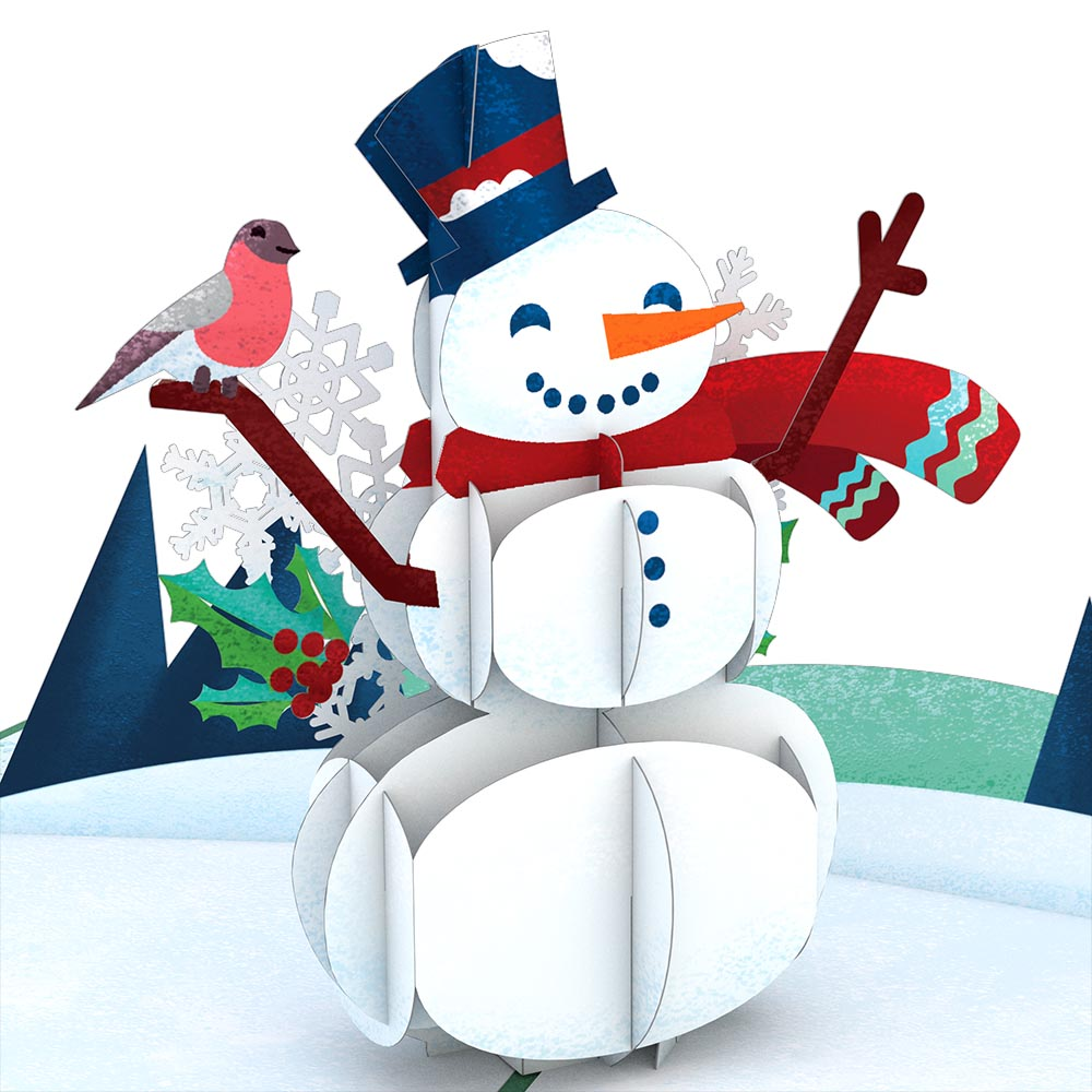 Happy Holidays Snowman             pop up card