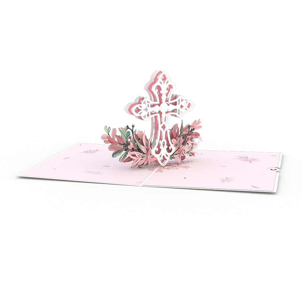 Pink Floral Cross             pop up card