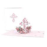 Pink Floral Cross                                   pop up card - thumbnail