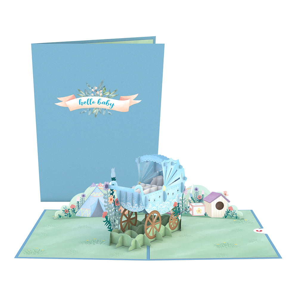 Blue Baby Carriage 3D card