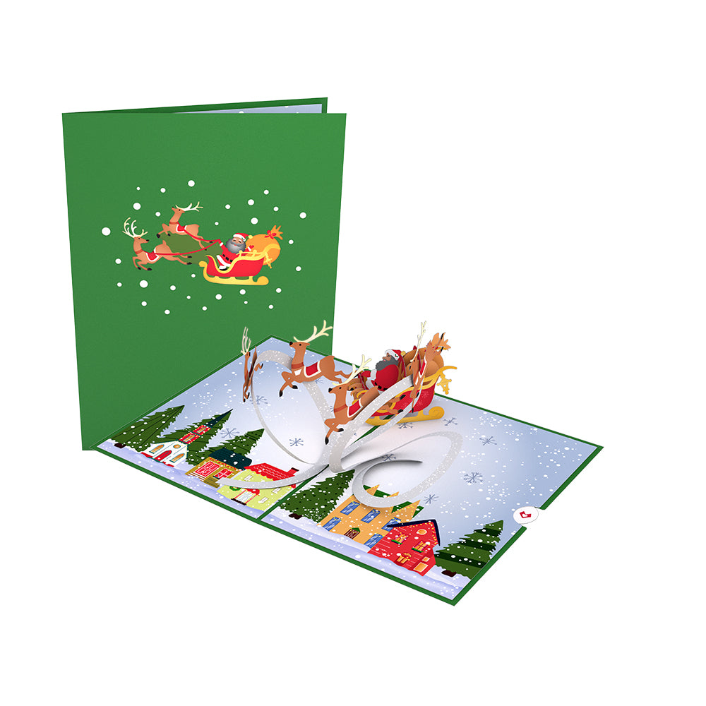Santa Sleigh and Village             pop up card