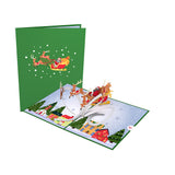 Santa Sleigh and Village                                   pop up card - thumbnail