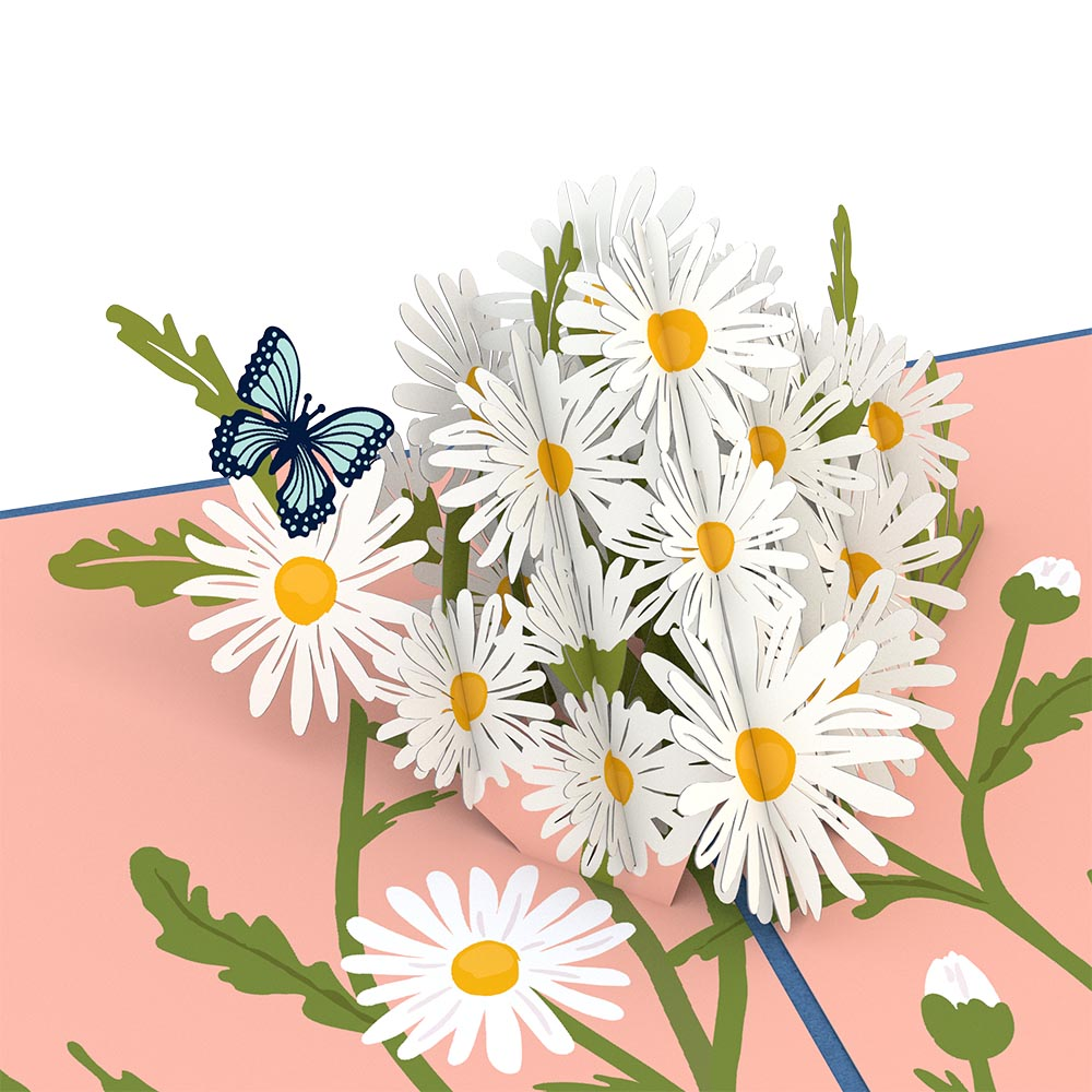 Daisies with Blue Morpho Butterfly Pop-Up Card