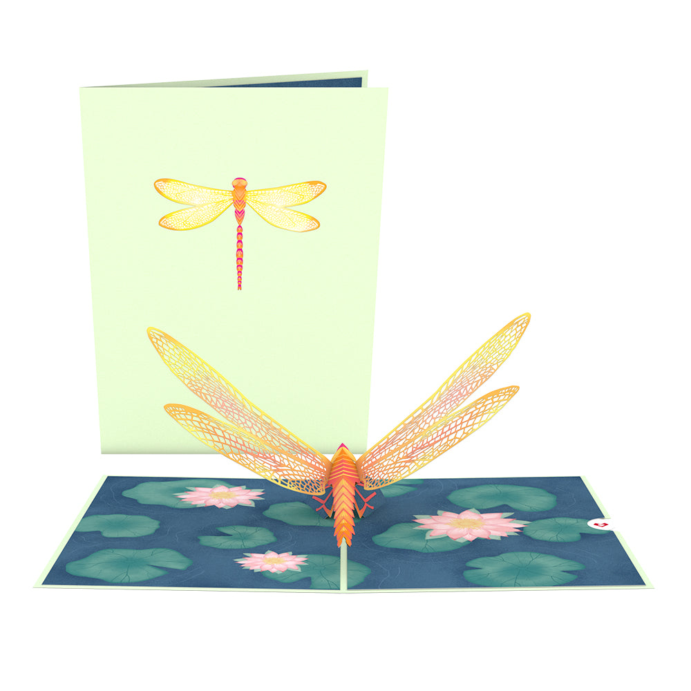 Dragonfly on Water Lily Pop-Up Card