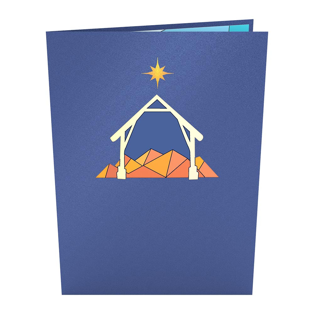 Stained Glass Nativity Pop-Up Card