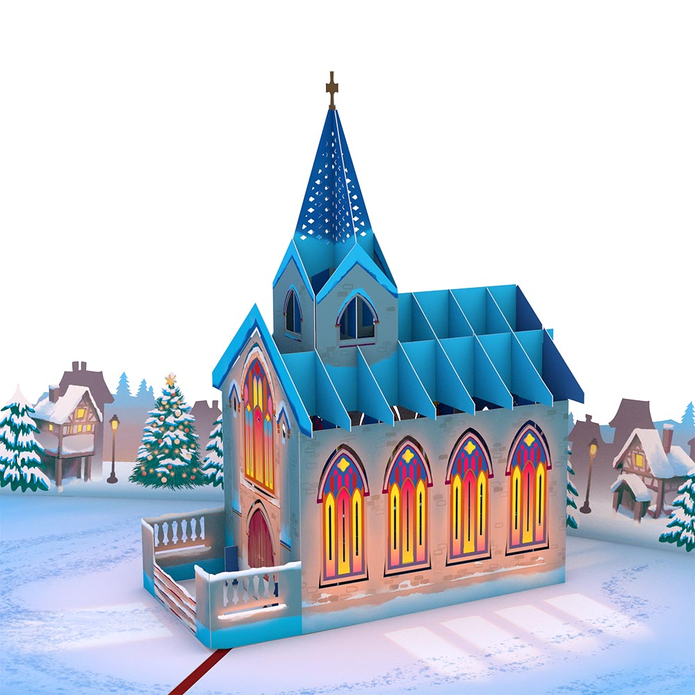 Stained Glass Christmas Chapel Pop-Up Card
