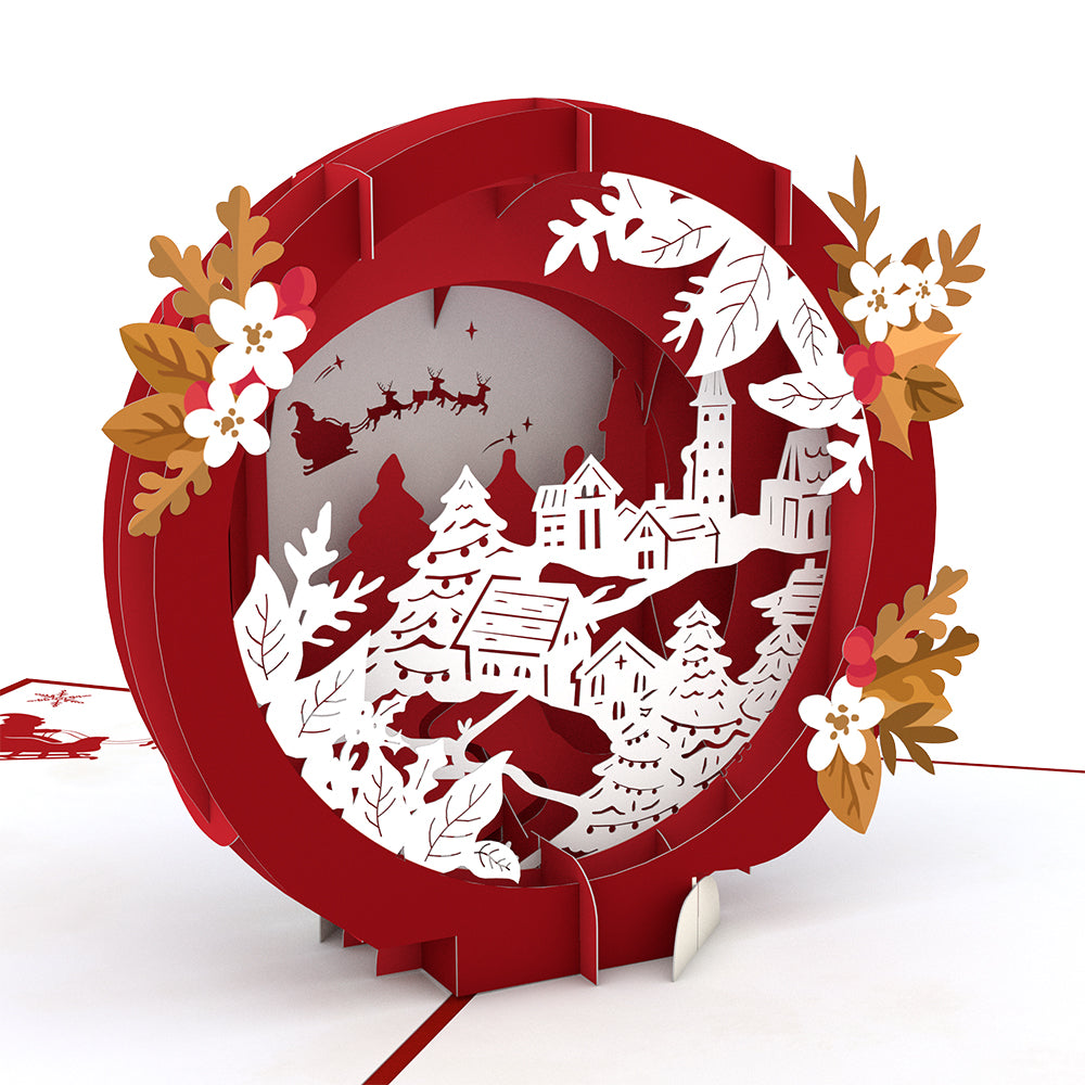 Red & White Christmas Village Pop-Up Card