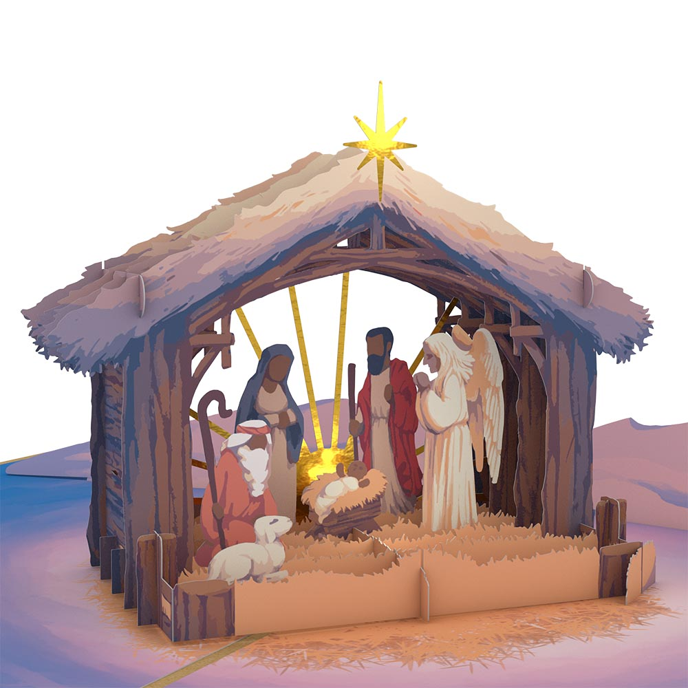 Painted Nativity Pop-Up Card