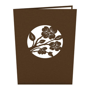 Lovers in a Dogwood Tree Brown Pop Up Anniversary Card