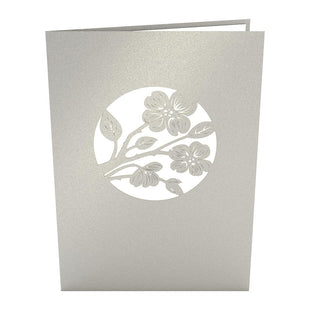 Lovers in a Dogwood Tree Gray Pop Up Anniversary Card