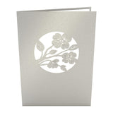 Lovers in a Dogwood Tree Gray pop up card - thumbnail