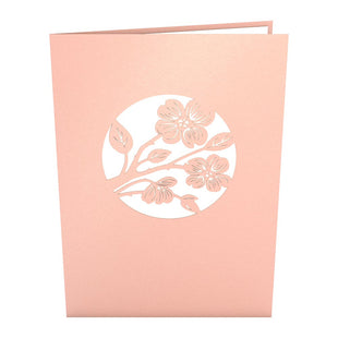 Lovers in a Dogwood Tree Pink Pop Up Anniversary Card
