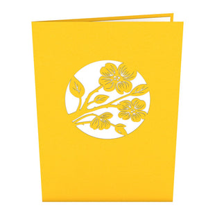 Lovers in a Dogwood Tree Yellow Pop Up Anniversary Card