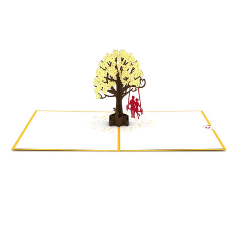 Lovers in a Dogwood Tree Yellow Pop Up Anniversary Card greeting card -  Lovepop