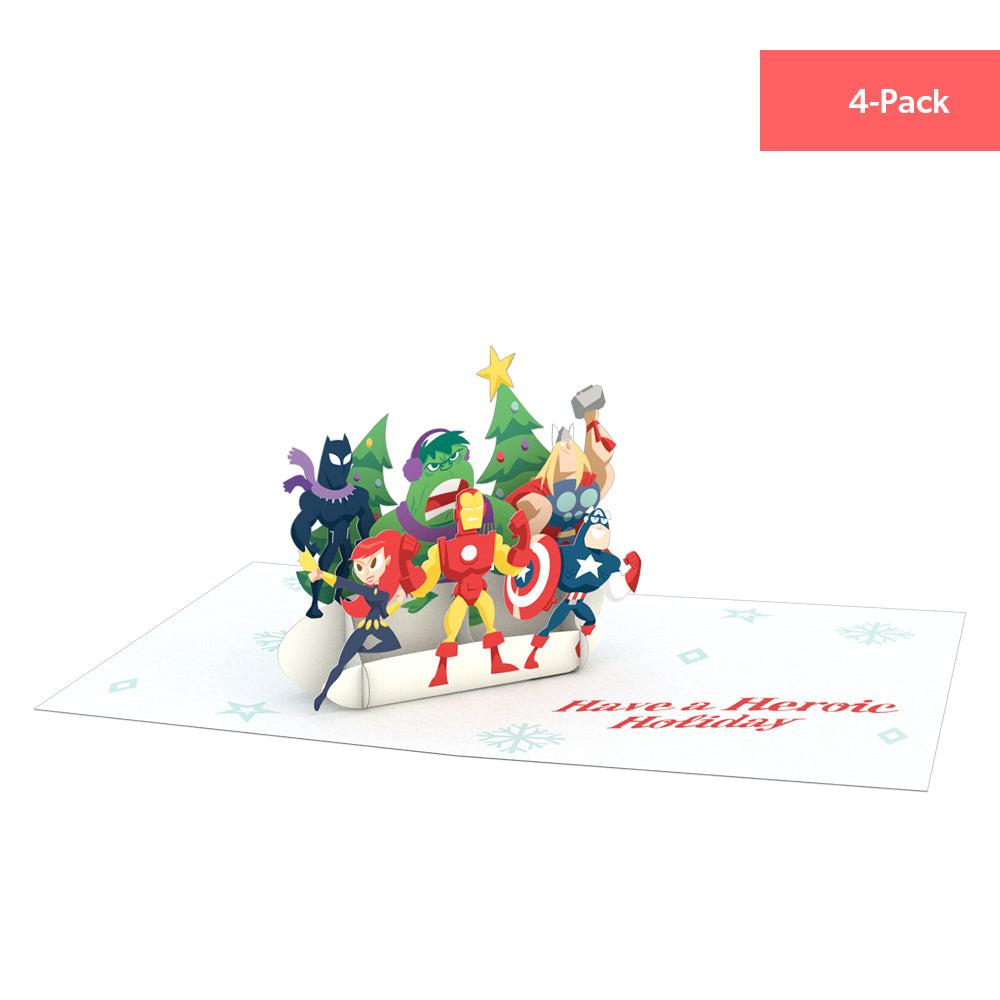 Notecard 4-Pack: Marvel Avengers Holiday pop up card