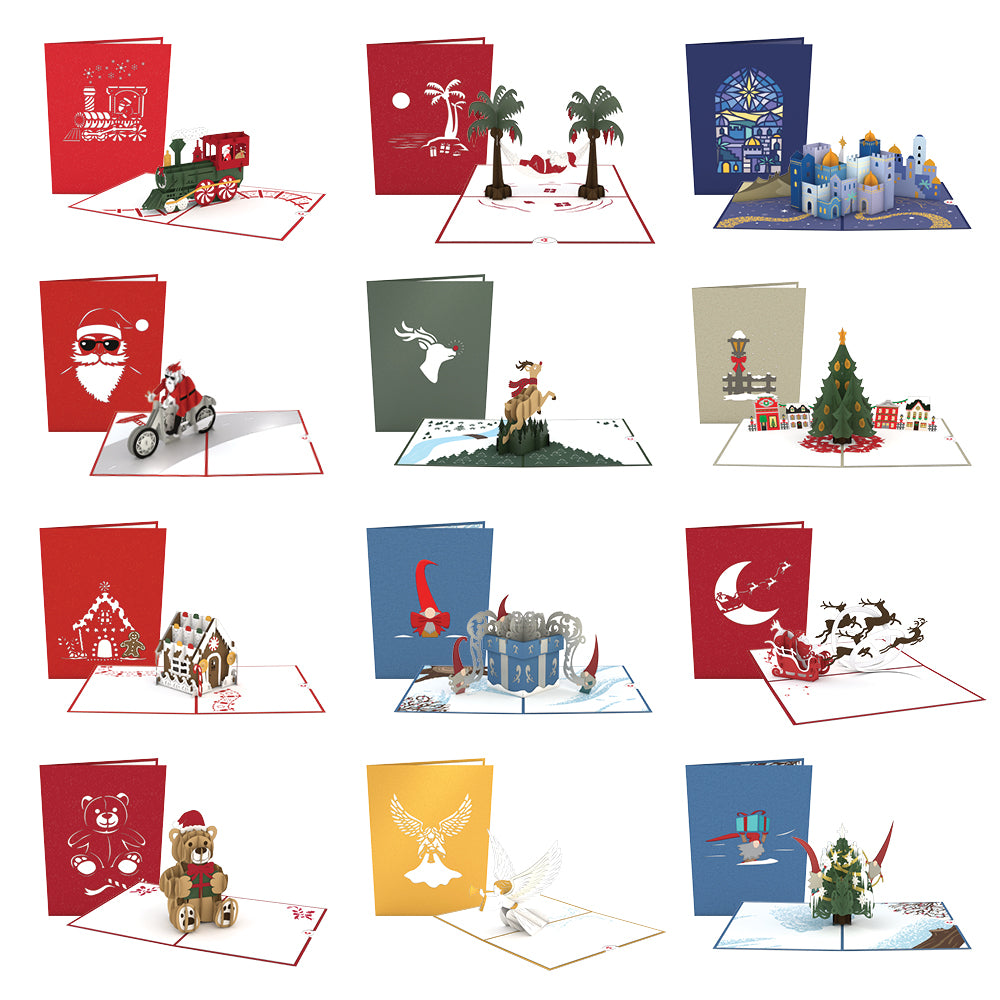 Classic Christmas 12 Pack pop up card