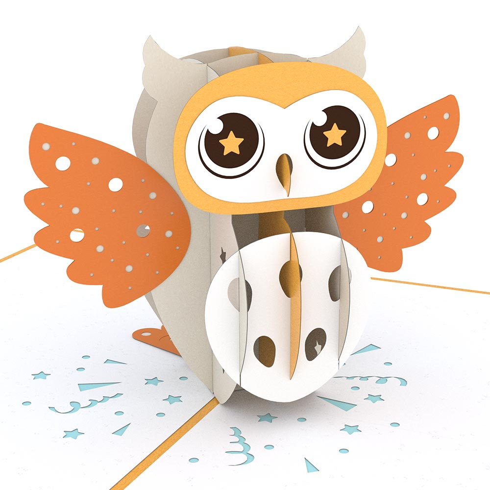 Party Owl birthday pop up card
