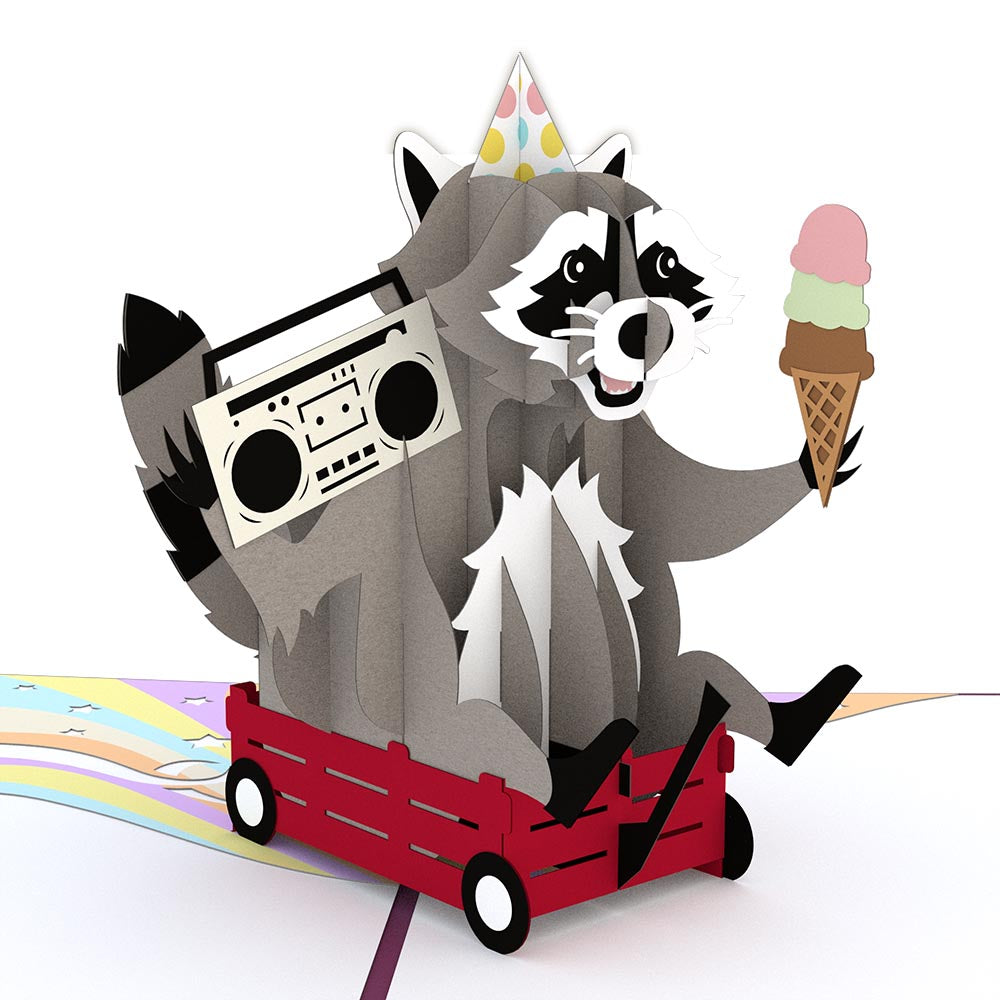 Party Raccoon             pop up card