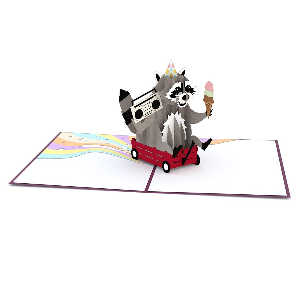 Party Raccoon                                             birthday                            pop up card