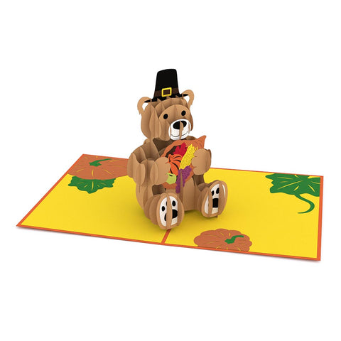 Pilgrim Bear Pop up Card greeting card -  Lovepop
