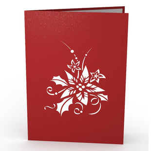 Christmas Poinsettia Pop Up Christmas Card