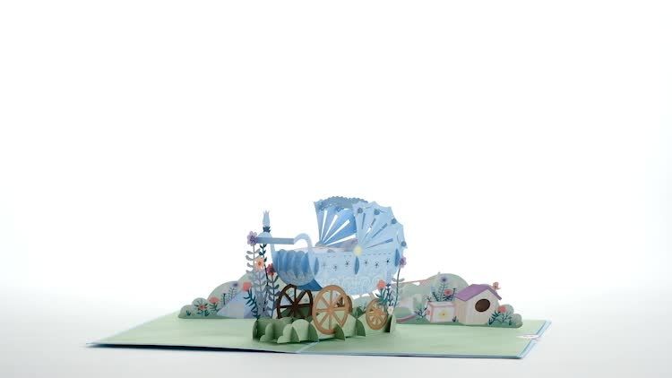 Blue Baby Carriage Pop-Up Card
